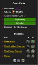 At-a-glance summary: mousing over the raid icons shows you which achievements they have & haven't completed.